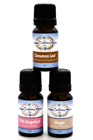 Burn Boost Essential Oil Gift Set- Ginger, Pink Grapefruit, Cinnamon Leaf - Gift Sets - Destination Oils