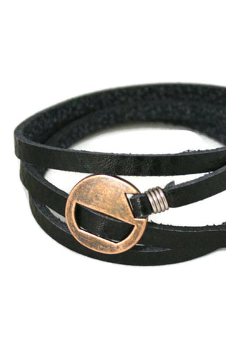 Wrapped Black Leather Essential Oil Bracelet- Adjustable-Diffuser Bracelet-Destination Oils