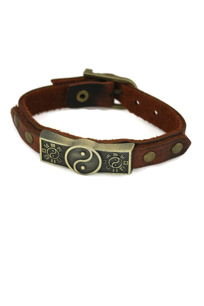 Studded Yin Yang Leather Essential Oil Bracelet- Unisex Men/Women-Diffuser Bracelet-Destination Oils