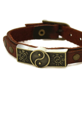 """Studded Yin Yang"" Leather Essential Oil Bracelet- Unisex Men/Women-Diffuser Bracelet-Destination Oils"