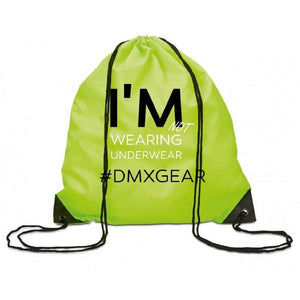 DMXGEAR DRAWSTRING BACKPACK YELLOW-GREEN COLORED I'M NOT WEARING UNDERWEAR - G UNDIE