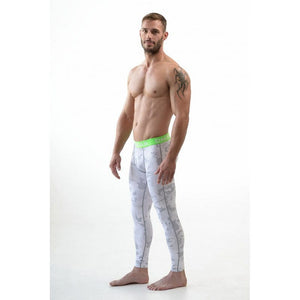2e356980252f6 DMXGEAR ELASTIC PANTS MEN'S PATTERNED COMPRESSION PRO COMBAT TIGHTS GREEN  WHITE