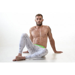 DMXGEAR ELASTIC PANTS MEN'S PATTERNED COMPRESSION PRO COMBAT TIGHTS GREEN WHITE - G UNDIE