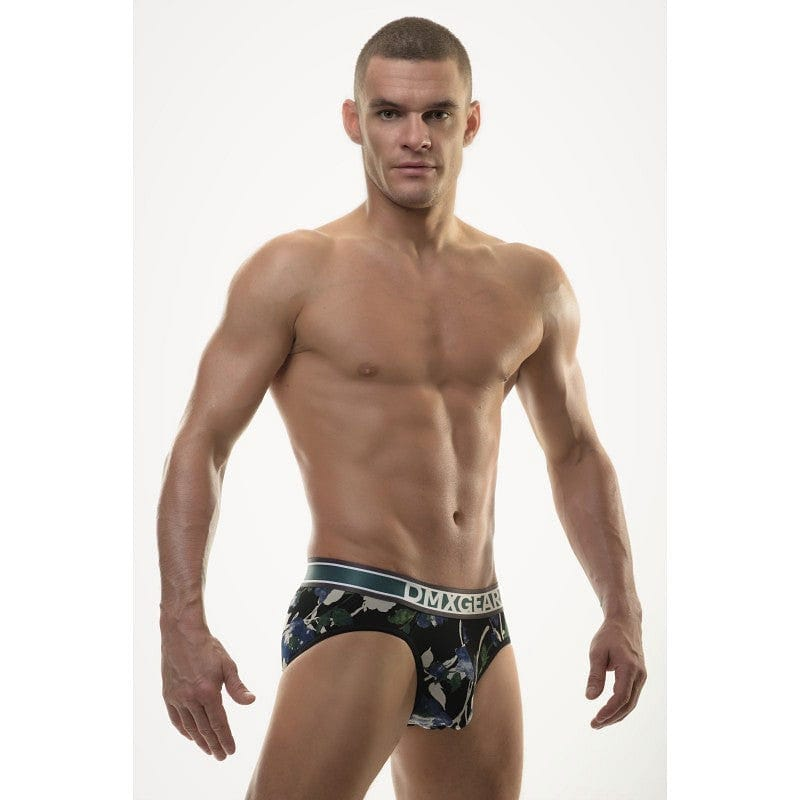 DMXGEAR LUXURY BLACK-BLUE-WHITE MEN'S BRIEF WITH PATTERN FLORA BRIEF - G UNDIE