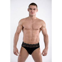DMXGEAR LUXURY BLACK MEN'S THONG WITH LACE BELT LACE - G UNDIE