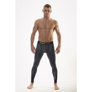 DMXGEAR MEN'S ELASTIC COMPRESSION LEGGINGS PRO COMBAT II. GREY HEXAGON - G UNDIE
