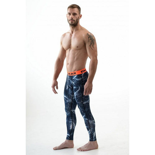 DMXGEAR MEN'S ELASTIC COMPRESSION LEGGINS DARK BLUE PRO COMBAT TIGHTS FLASH