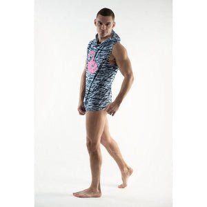 DMXGEAR SLEEVELESS HOODIE T-SHIRT FLAMINGO PURE SPORT ARMY BLUE