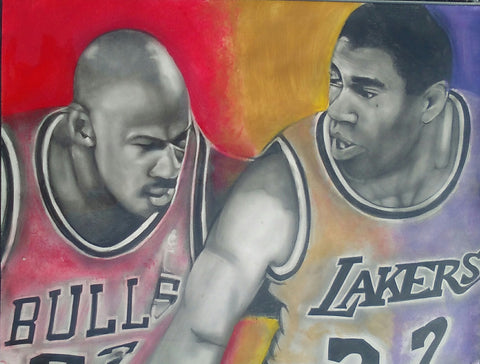 MAGIC JOHNSON / MICHAEL JORDAN - Original Artwork
