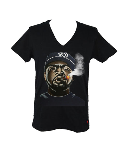 Ice Cube Smoking Cigar Women's Fitted V-Neck
