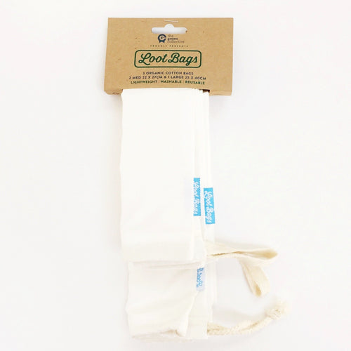 Organic Cotton Food & Bread Bag - Pack 3