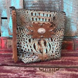 Cosmetics Bag - Mint & Chocolate Croc, Buffalo & Antique Silver