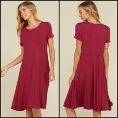 'Downtown' Burgundy Dress