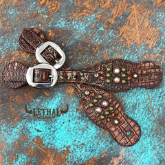 Ladies Spur Straps Chocolate Croc with Swarovskis