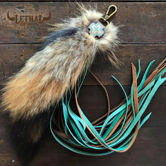 NEW! 4 layer 20in fringe and large tail purse charm. Turquoise. Distressed light brown & turquoise leathers