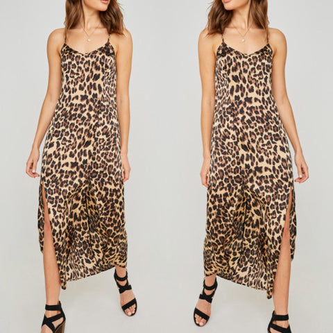 'Wildfire' Leopard Print Slip Dress