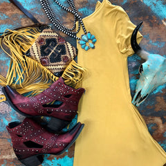 'Downtown' Mustard Dress