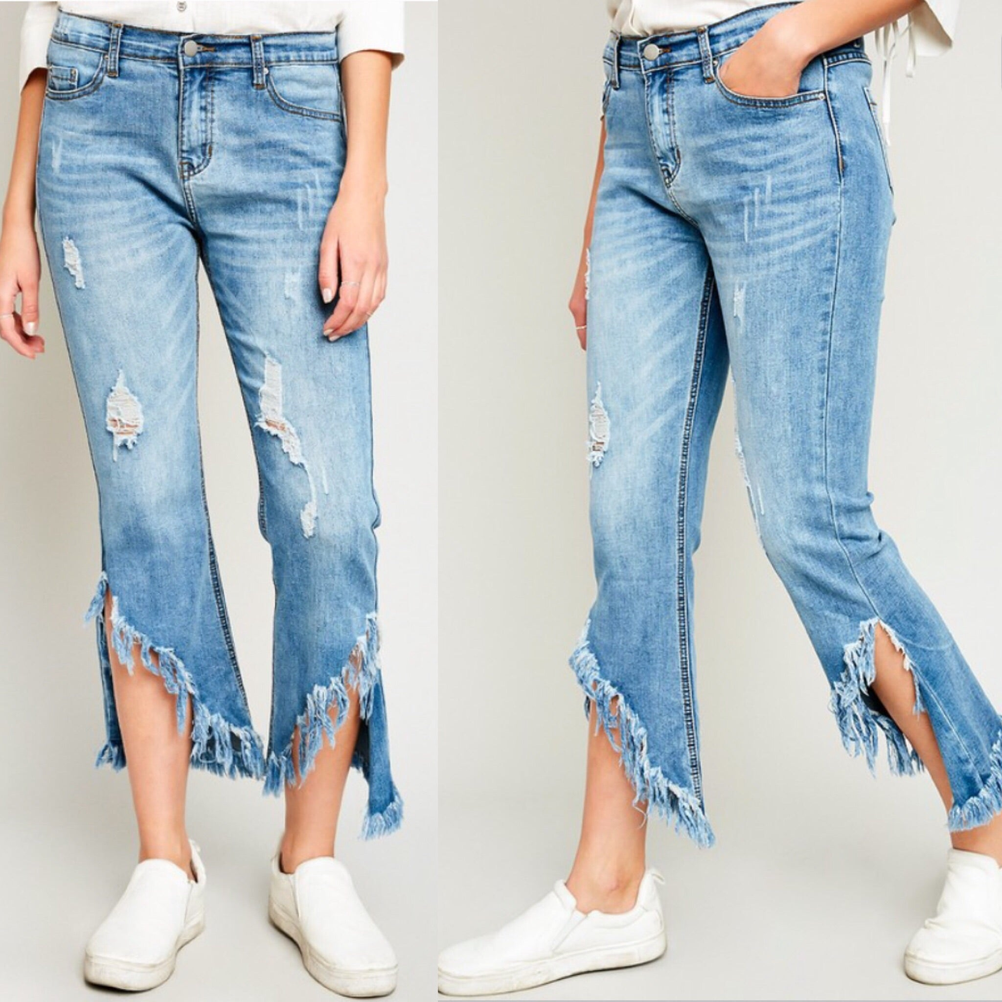 'Nomad' Max Frayed Crop Jeans - S LEFT!
