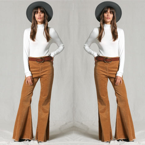 'Ace High' Corduroy Frayed Flares M&L LEFT!