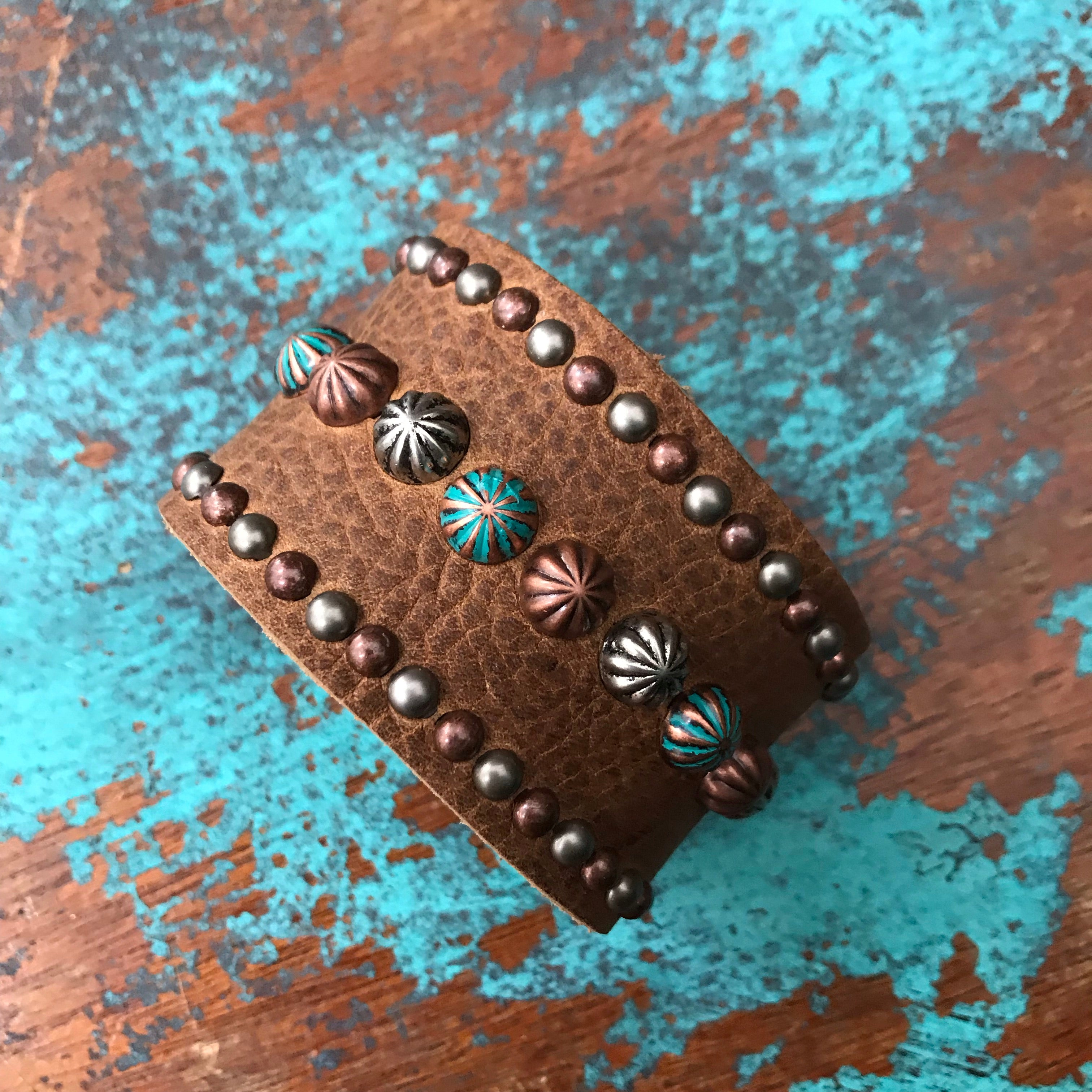 'Shotgun' Cuff Vintage Chap Leather, Antique Silver, Turquoise & Antique Copper