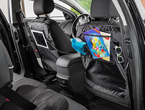 Car Seat Back Protector Kick Mat With Holder For Touch Screen IPad And Tablets