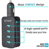 Electronics-Car Charger Multiple 4-Port USB Vehicle Charger with Extended 3.3ft Cable (Black or White)