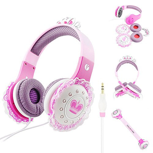 Volume Limited Wired Kids Princess Headphones with Adjustable Headset