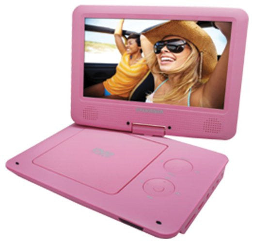 Sylvania 9-Inch Swivel Screen Portable DVD/CD/MP3 Player with 5 Hour Built-In Rechargeable Battery in Pink