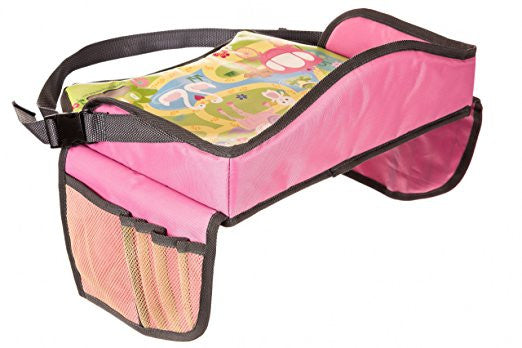 Play Tray-Childrens Travel Tray for Snacks in Car Bus Train and Plane Journeys in Pink