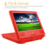 "DVD Player-Ematic Portable Swivel Kids DVD Player, Headphones and Bag. 7"" or 9"" Screen (Red, Purple or Blue)."