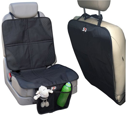 Car Seat Protector Mat and Kick Mat - Baby Car Seat Mats with Pockets