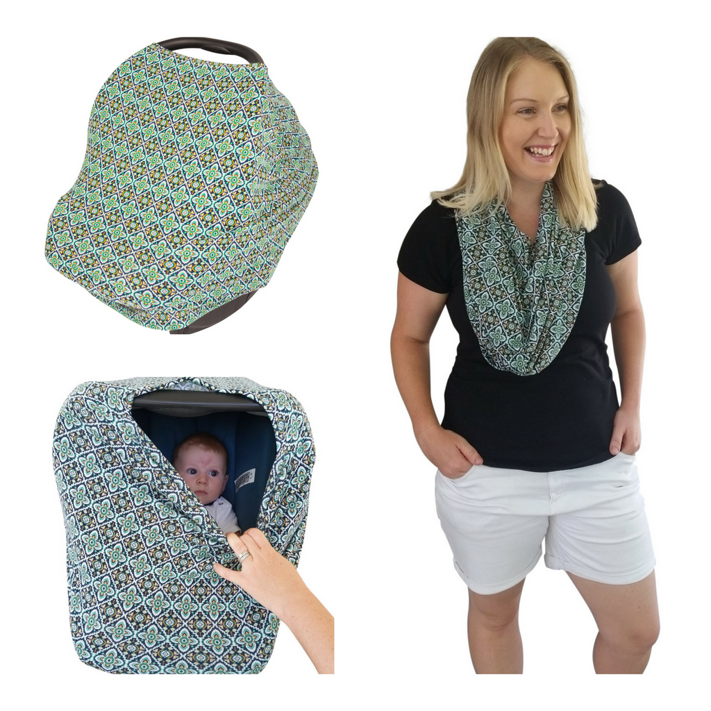 Stretchy Baby Car Seat Cover Canopy and Nursing Cover (Multiple Colors)