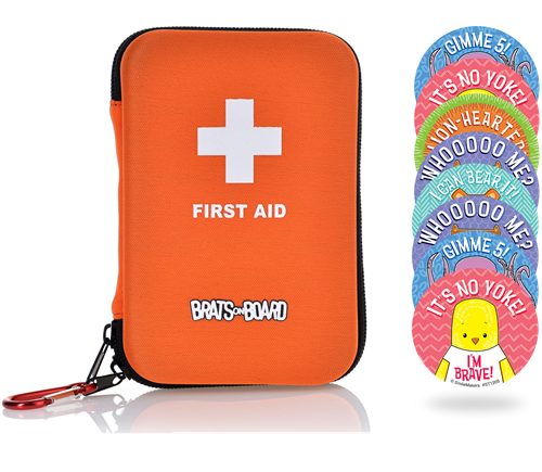 Compact Family Travel First Aid Kit - with Bonus Bravery Stickers