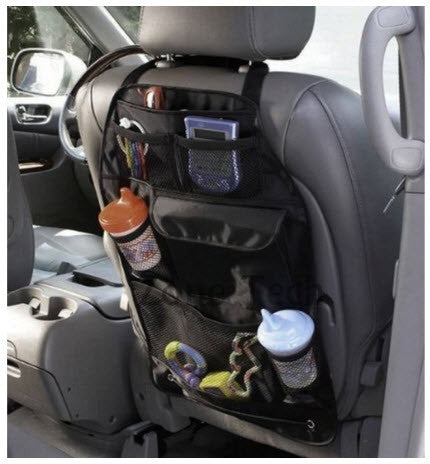 7 Pocket Black Sturdy Back Seat Headrest Organizer