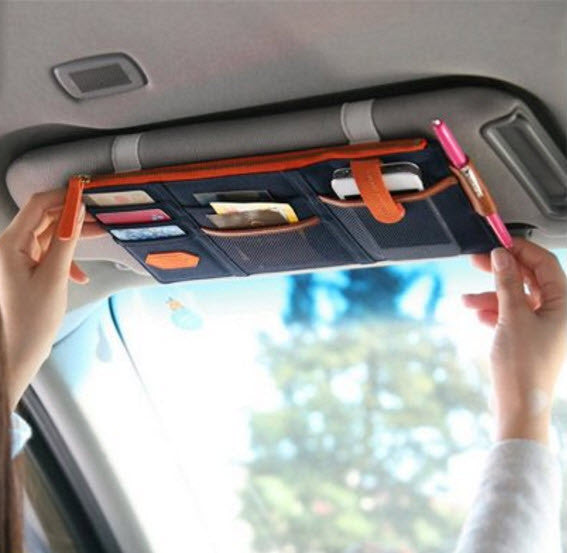 Car Sun Visor Storage Organizer - With Notepad and Pen Holder