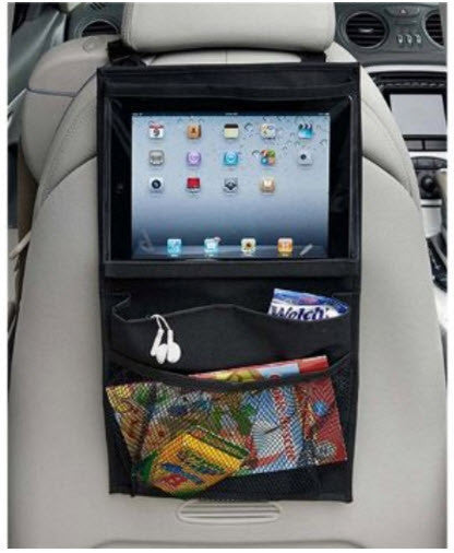 Backseat Headrest Hanging Organizer with Tablet / iPad and Headphone Storage