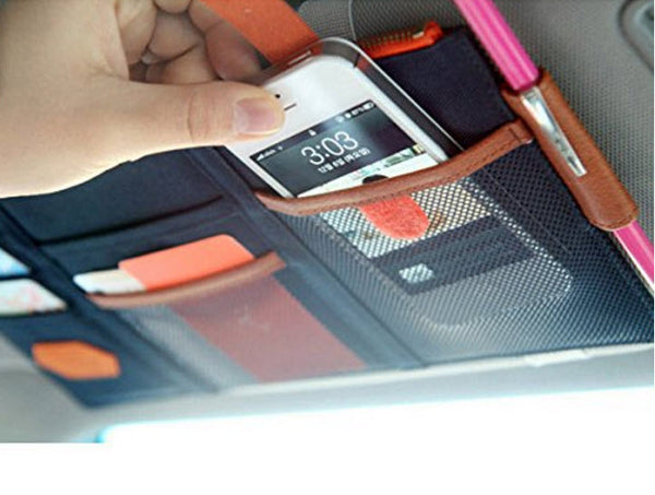 Car sun visor storage organizer with notepad and pen holder brats on board - Notepad holder for car ...