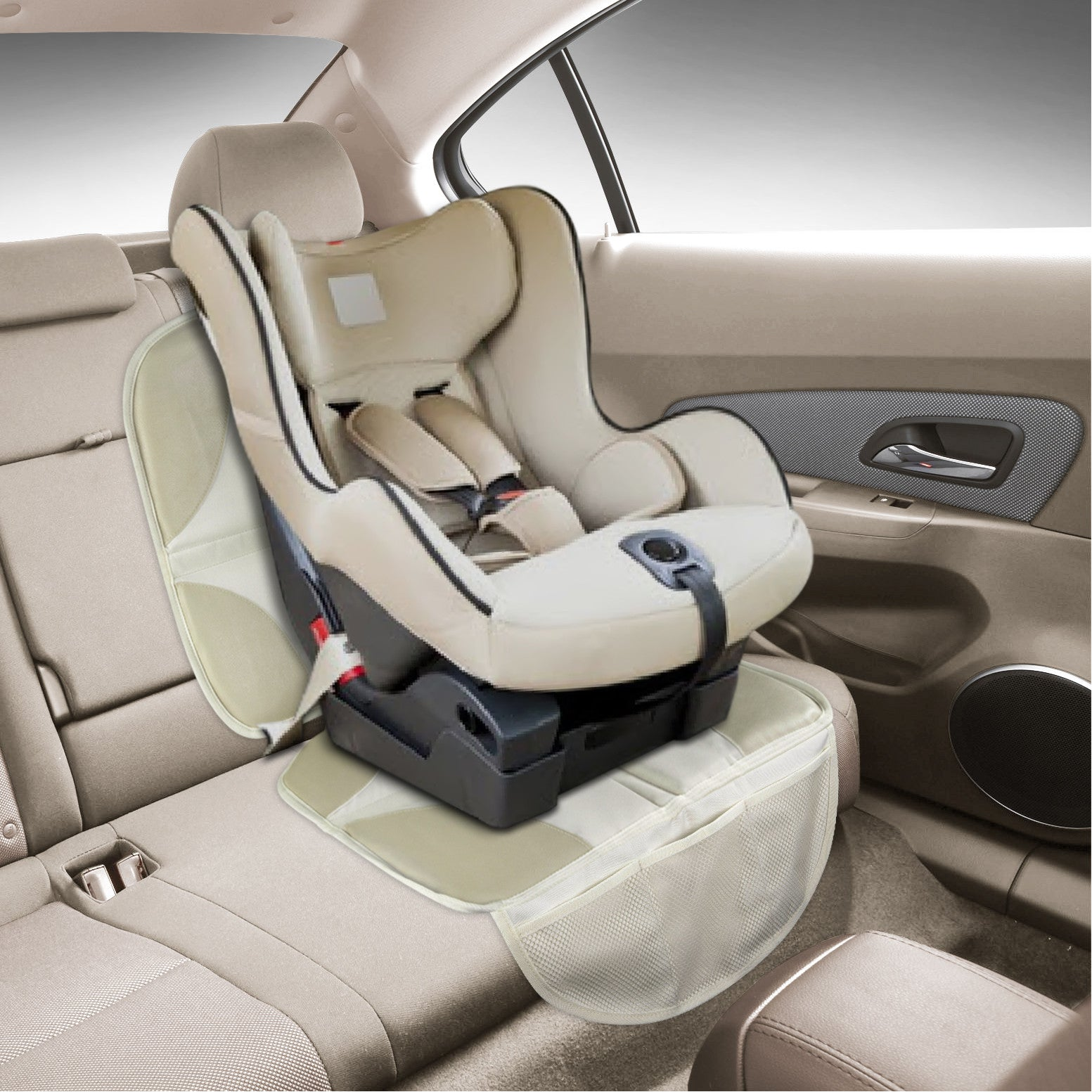 Beige Luxury Seat Protector Mat To Use Under Your Childs Car