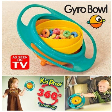 Gyro Bowl - Spill Resistant Kids Gyroscopic Bowl with Lid