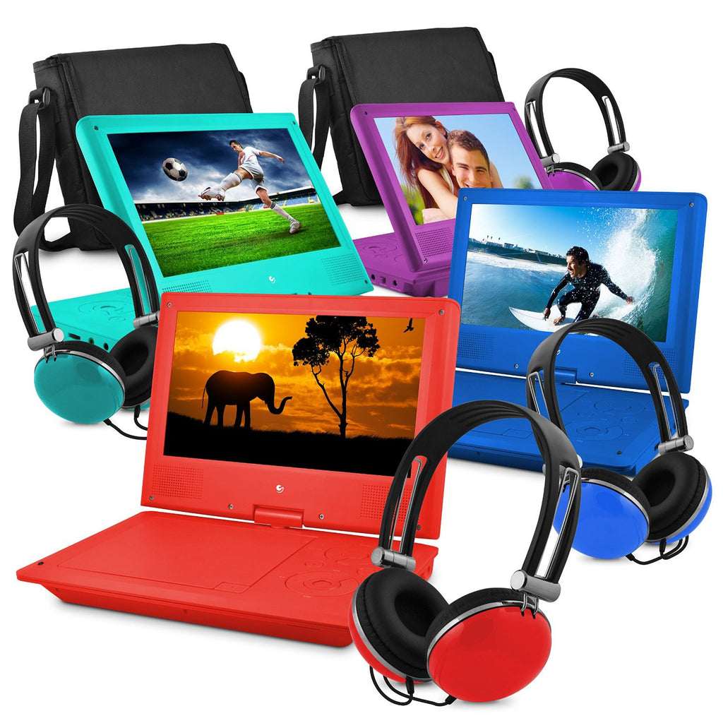 "Ematic Portable Swivel Kids DVD Player, Headphones and Bag. 7"" or 9"" Screen (Red, Purple or Blue)."