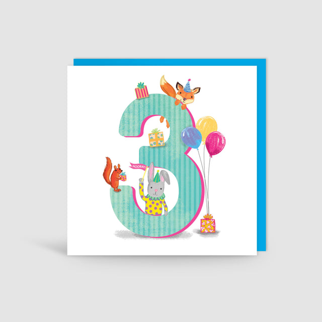 Age Three 3rd Birthday Animal Card