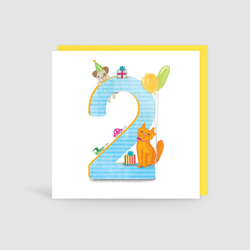 Age 2 Birthday Bunch Animal Card