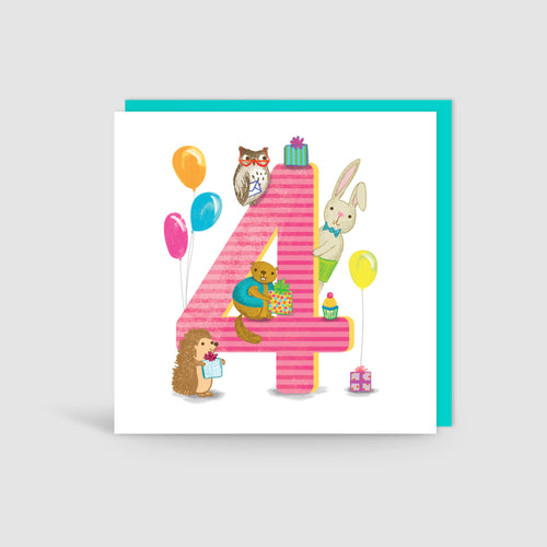 Age 4 Birthday Bunch Animal Card