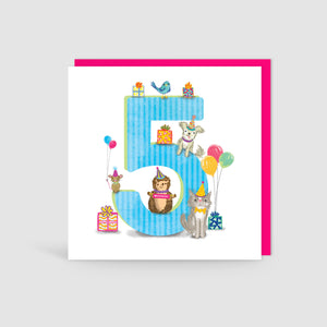 Age 5 Birthday Bunch Animal Card