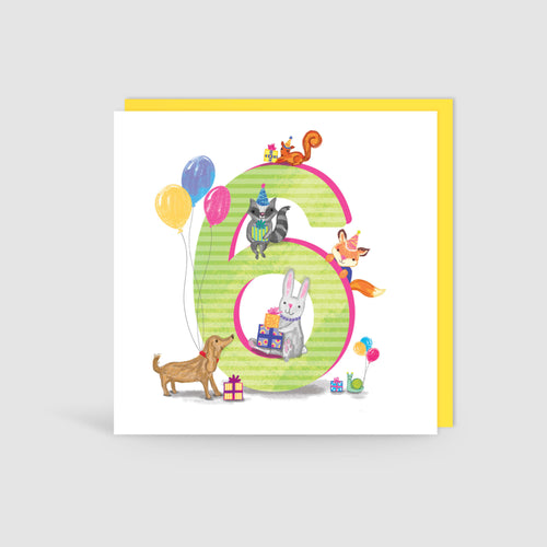 Age 6 Birthday Bunch Animal Card