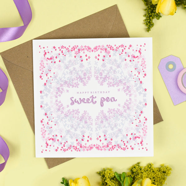 Sweet Pea Birthday Card