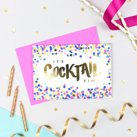 It's Cocktail Time! Confetti Card