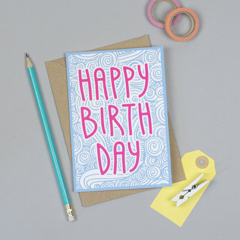 Swirls Happy Birthday Card