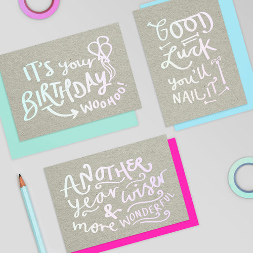 Wiser & More Wonderful Birthday Holographic Foil Card