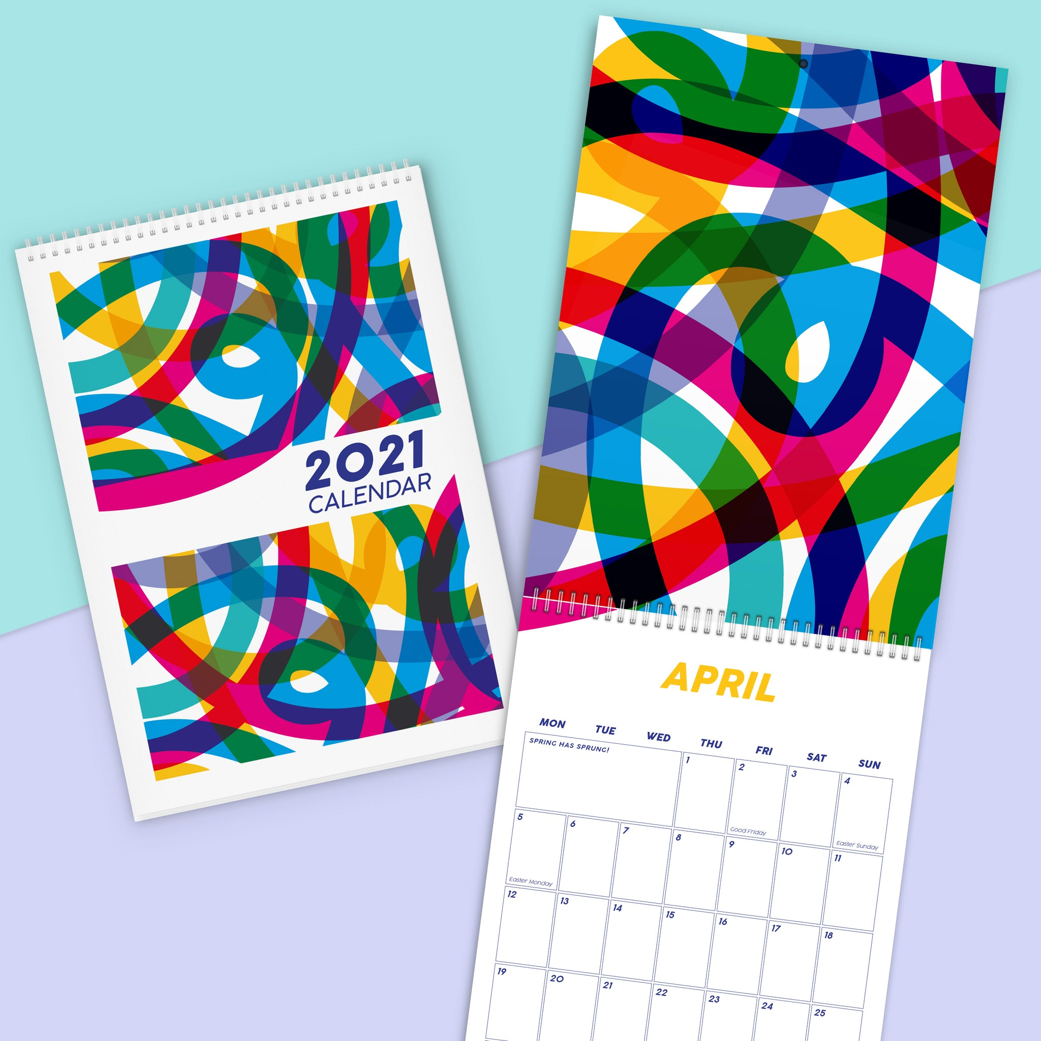 2021 Colourful Calendar | Vibrant & Geometric Family Home Office Planner Active